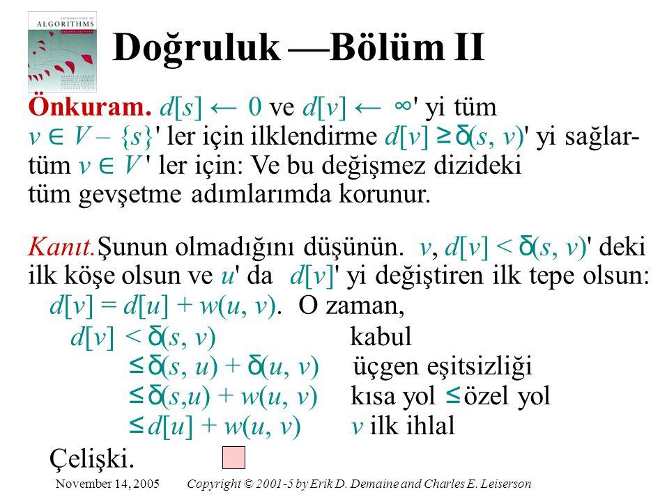 d[v] = d[u] + w(u, v). O zaman,